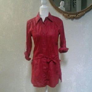 Bill Blass Jeans Red Button down Mini Dress /Top S